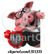3d Chubby Business Pig Holding An Alarm Clock On A White Background