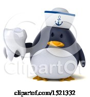 Clipart Of A 3d Chubby Penguin Sailor Holding A Tooth On A White Background Royalty Free Illustration
