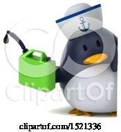 Clipart Of A 3d Chubby Penguin Sailor Holding A Gas Can On A White Background Royalty Free Illustration