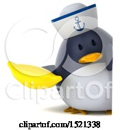 Clipart Of A 3d Chubby Penguin Sailor Holding A Banana On A White Background Royalty Free Illustration by Julos