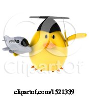 Clipart Of A 3d Yellow Bird Graduate Holding A Plane On A White Background Royalty Free Illustration