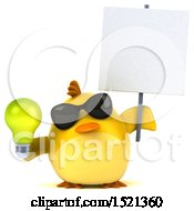 Poster, Art Print Of 3d Yellow Bird Holding A Light Bulb On A White Background