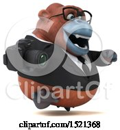 Clipart Of A 3d Business Orangutan Monkey Holding A Camera On A White Background Royalty Free Illustration by Julos