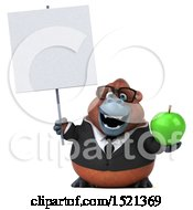 Clipart Of A 3d Business Orangutan Monkey Holding An Apple On A White Background Royalty Free Illustration by Julos