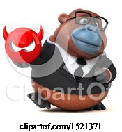 Clipart Of A 3d Business Orangutan Monkey Holding A Devil On A White Background Royalty Free Illustration by Julos