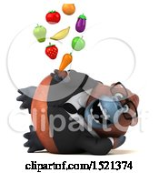 Clipart Of A 3d Business Orangutan Monkey Holding Produce On A White Background Royalty Free Illustration by Julos