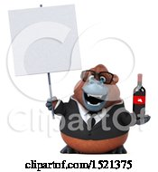 Clipart Of A 3d Business Orangutan Monkey Holding Wine On A White Background Royalty Free Illustration by Julos