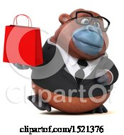 Clipart Of A 3d Business Orangutan Monkey Holding A Shopping Bag On A White Background Royalty Free Illustration by Julos