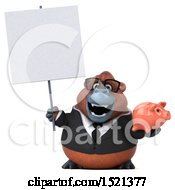 Clipart Of A 3d Business Orangutan Monkey Holding A Piggy Bank On A White Background Royalty Free Illustration by Julos