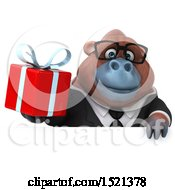 Clipart Of A 3d Business Orangutan Monkey Holding A Gift On A White Background Royalty Free Illustration by Julos