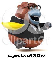 Clipart Of A 3d Business Orangutan Monkey Holding A Banana On A White Background Royalty Free Illustration by Julos