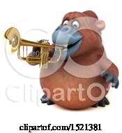 Clipart Of A 3d Orangutan Monkey Playing A Trumpet On A White Background Royalty Free Illustration by Julos