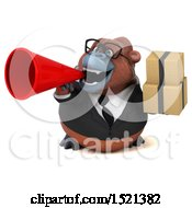 Clipart Of A 3d Business Orangutan Monkey Holding Boxes On A White Background Royalty Free Illustration by Julos