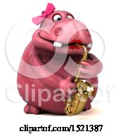 3d Pink Henrietta Hippo Playing A Saxophone On A White Background