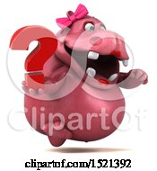 Clipart Of A 3d Pink Henrietta Hippo Holding A Question Mark On A White Background Royalty Free Illustration by Julos
