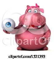 Clipart Of A 3d Pink Henrietta Hippo Holding An Eye On A White Background Royalty Free Illustration by Julos