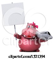 Clipart Of A 3d Pink Henrietta Hippo Holding A Plane On A White Background Royalty Free Illustration by Julos