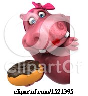 Clipart Of A 3d Pink Henrietta Hippo Holding A Donut On A White Background Royalty Free Illustration by Julos