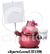 Clipart Of A 3d Pink Henrietta Hippo Holding A Tooth On A White Background Royalty Free Illustration by Julos