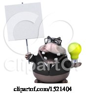 3d Business Hippo Holding A Light Bulb On A White Background