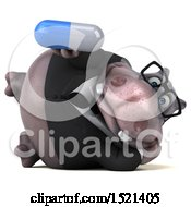 3d Business Hippo Holding A Pill On A White Background