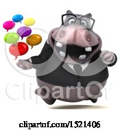 Clipart Of A 3d Business Hippo Holding Messages On A White Background Royalty Free Illustration