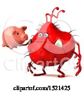 Clipart Of A 3d Red Monster Or Germ Character Holding A Piggy Bank On A White Background Royalty Free Illustration
