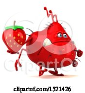 Clipart Of A 3d Red Monster Or Germ Character Holding A Strawberry On A White Background Royalty Free Illustration