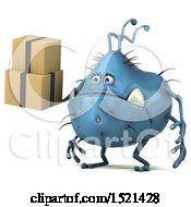 Clipart Of A 3d Blue Monster Or Germ Character Holding Boxes On A White Background Royalty Free Illustration