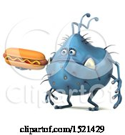 Clipart Of A 3d Blue Monster Or Germ Character Holding A Hot Dog On A White Background Royalty Free Illustration