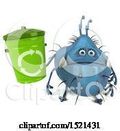 Clipart Of A 3d Blue Monster Or Germ Character Holding A Recycle Bin On A White Background Royalty Free Illustration