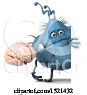 Clipart Of A 3d Blue Monster Or Germ Character Holding A Brain On A White Background Royalty Free Illustration