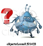 Clipart Of A 3d Blue Monster Or Germ Character Holding A Question Mark On A White Background Royalty Free Illustration
