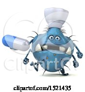 3d Blue Monster Or Germ Character Holding A Pill On A White Background