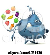 Clipart Of A 3d Blue Monster Or Germ Character Holding Produce On A White Background Royalty Free Illustration