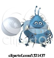 Clipart Of A 3d Blue Monster Or Germ Character Holding A Golf Ball On A White Background Royalty Free Illustration