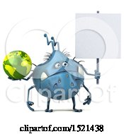 Clipart Of A 3d Blue Monster Or Germ Character Holding A Globe On A White Background Royalty Free Illustration