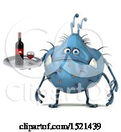 Clipart Of A 3d Blue Monster Or Germ Character Holding Wine On A White Background Royalty Free Illustration