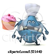Clipart Of A 3d Blue Monster Or Germ Character Holding A Cupcake On A White Background Royalty Free Illustration