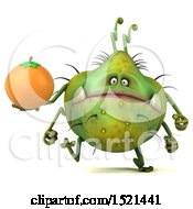 Clipart Of A 3d Green Monster Or Germ Character Holding An Orange On A White Background Royalty Free Illustration
