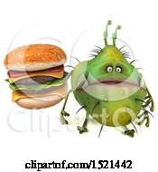 Clipart Of A 3d Green Monster Or Germ Character Holding A Burger On A White Background Royalty Free Illustration