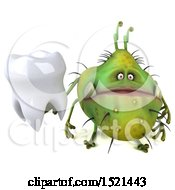 Clipart Of A 3d Green Monster Or Germ Character Holding A Tooth On A White Background Royalty Free Illustration