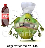 Clipart Of A 3d Green Monster Or Germ Character Holding A Soda On A White Background Royalty Free Illustration