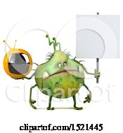 Clipart Of A 3d Green Monster Or Germ Character Holding A Tv On A White Background Royalty Free Illustration
