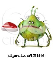 Clipart Of A 3d Green Monster Or Germ Character Holding A Steak On A White Background Royalty Free Illustration