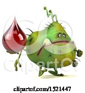 Clipart Of A 3d Green Monster Or Germ Character Holding A Blood Drop On A White Background Royalty Free Illustration