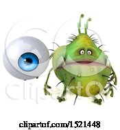 Clipart Of A 3d Green Monster Or Germ Character Holding An Eye On A White Background Royalty Free Illustration