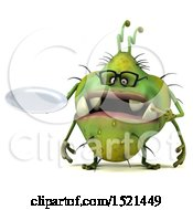 Clipart Of A 3d Green Monster Or Germ Character Holding A Plate On A White Background Royalty Free Illustration