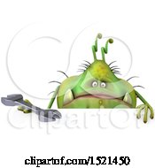 Clipart Of A 3d Green Monster Or Germ Character Holding A Wrench On A White Background Royalty Free Illustration