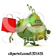 Clipart Of A 3d Green Monster Or Germ Character Holding A Shopping Bag On A White Background Royalty Free Illustration
